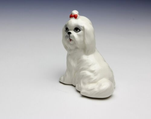 NEW Maltese Miniature Porcelain Figurine with Red Hair Bow in Heart Shape Box