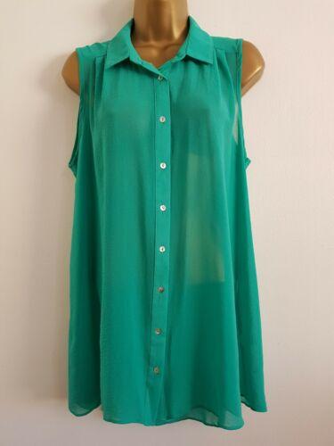 NEW Yours Plus Size16-32 Emerald Green Chiffon Sleeveless Tunic Top Shirt Blouse