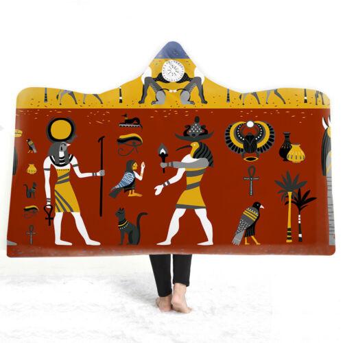 Egyptian Culture Mural God Eye of Horus Sherpa Fleece Hooded Blanket Cloak Throw