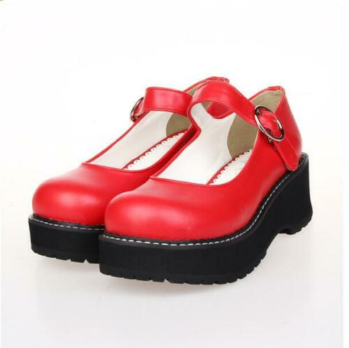 Women Punk Bowknot Lolita Shoes Mary Jane Ankle Strap Cosplay Creepers Heel Pump