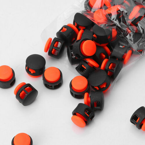 50 Plastic Toggle Round 2 Holes Spring Rope Cord Locks Clip Ends Stopper Button