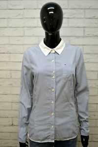 Camicia-TOMMY-HILFIGER-FITTED-Blusa-Donna-M-Manica-Lunga-Cotone-Shirt-Righe-Blu