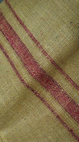 """12/"""" x 108/"""" Burlap Table Runner fringe edges Magenta Vintage grain sack stripe"""