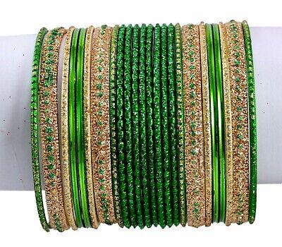 Green Color Indian Traditional Bollywood Fashion Costume Kundan Style Bangles Chudi