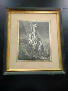 Gravure-ancienne-Rembrandt-1633-La-grande-descente-de-croix-eau-forte-inversee