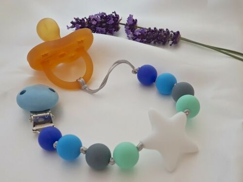 NEW Natural /& Organic Silicone Baby Pacifier Clip //Teething Clips /& MORE DESIGN