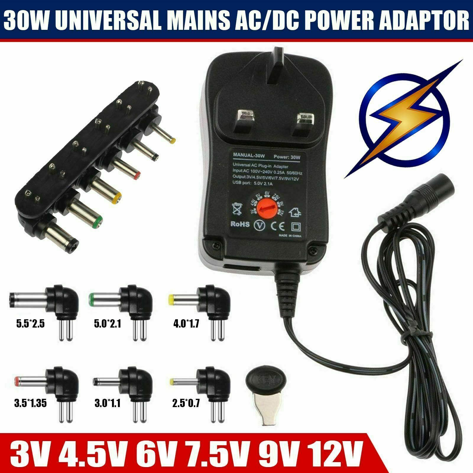 12v-2,5 Power Supply Amp 30 Watts High Quality-AC//DC Adaptor H.Q.