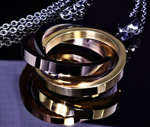 akzent damen halskette tricolour silber gold und rosegold farben ebay. Black Bedroom Furniture Sets. Home Design Ideas