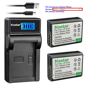 Kastar-Battery-LCD-Charger-for-Canon-LP-E10-LC-E10-amp-Canon-EOS-1200D-Camera