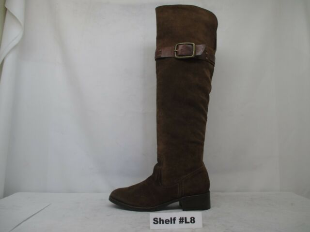 JESSICA SIMPSON Riding Boots Brown Suede Leather Over the Knee Size 8 B CLANCY2