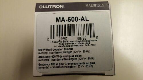 LUTRON MA-600-AL MAESTRO 600 WATTS SINGLE POLE DIMMER ALMOND