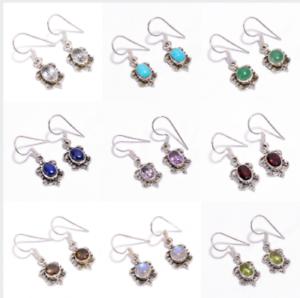 925-Solid-Sterling-Silver-Earrings-Natural-Gemstone-Handmade-Women-Jewelry-E7