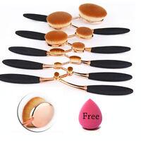 Rose Gold 10Pcs Oval Toothbrush Lip Powder Blusher Foundation Eye Makeup Brushes