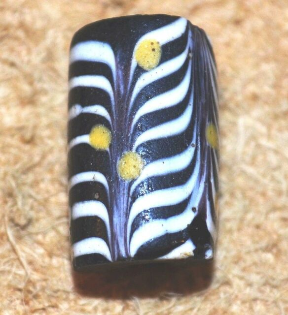 Antique Venetian Black Feather Bead Trail Decorated Yellow Eyes, African Trade