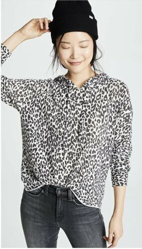 360 Cashmere Cheetah Print Hooded Sweater-Size XS - image 1
