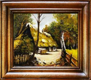 Painting-Nature-Hut-Forest-Handmade-Oil-Picture-Frame-G02976