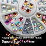 EB-083 Nail Art Decoration Colorful Reflection Square Round Glass Rhinestones