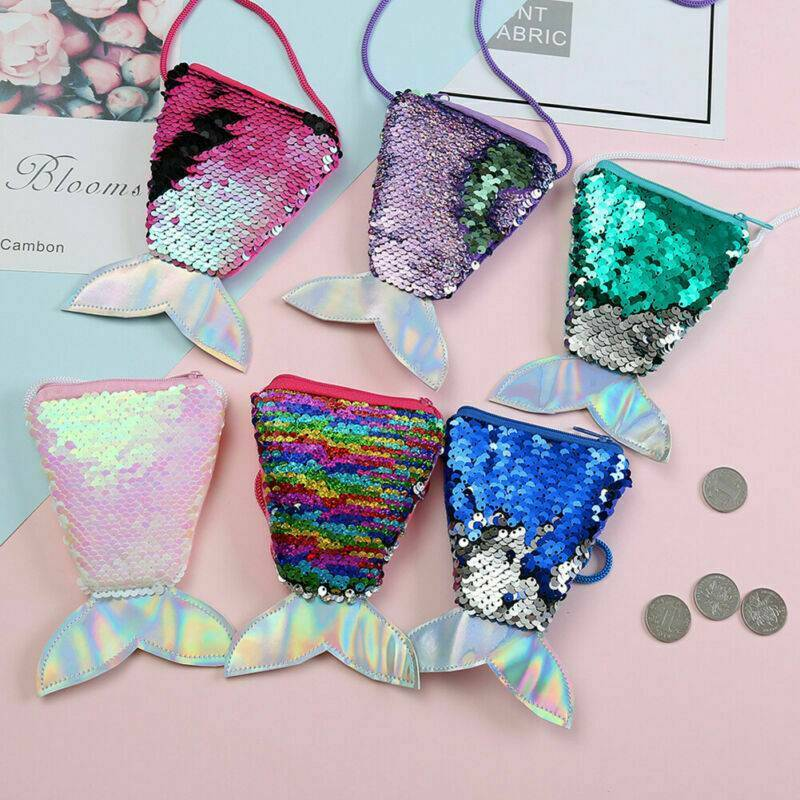 Lady Girls Cute Sequins Mermaid Tail Mini Wallets Coins Purse Clutch Bag Holder