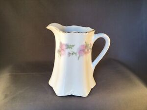 ANTIQUE TAYLOR SMITH TAYLOR TST AVONA CHINA CREAMER WHITE PINK THISTLE FLORAL
