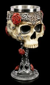 Skull-Chalice-Gothic-Roses-Wine-Goblet-Drinking-Cup-Table-Decoration
