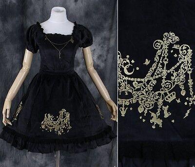 M-05 Samt velvet black Gothic Lolita Cosplay Kleid dress Kostüm costume