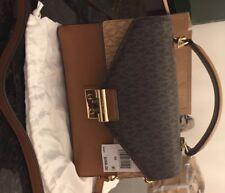 753684bbcc20 Michael Kors Sloan Top Handle Signature Logo Medium Satchel Handbag Purse