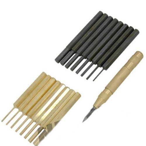 Neilsen Pin Punch Set Latón Acero /& Gratis Centro Punch Bolsa Bolsa De Acero 8c