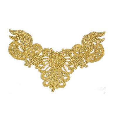 Gold Metallic Floral Sew On Yoke x 1
