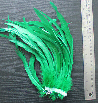 """25 pcs 10-12/"""" long Emerald Green Dyed Rooster COQUE tail Feathers for crafting"""