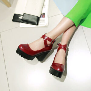Women-039-s-Chunky-Pumps-Block-High-Heels-Platform-Mary-Jane-Ankle-Cross-Strap-Shoes