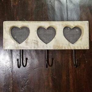 Hook-Heart-Board-Vintage-Shabby-Chic-Retro-Painted-Distressed-Wall-Mounted-Wood