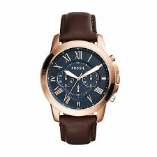 Fossil FS5068 Brown Leather Strap Blue Dial Mens Chronograph Analog Watch