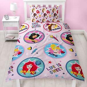 Officiel-Disney-Princess-sans-Peur-Set-Housse-de-Couette-Rose-Filles