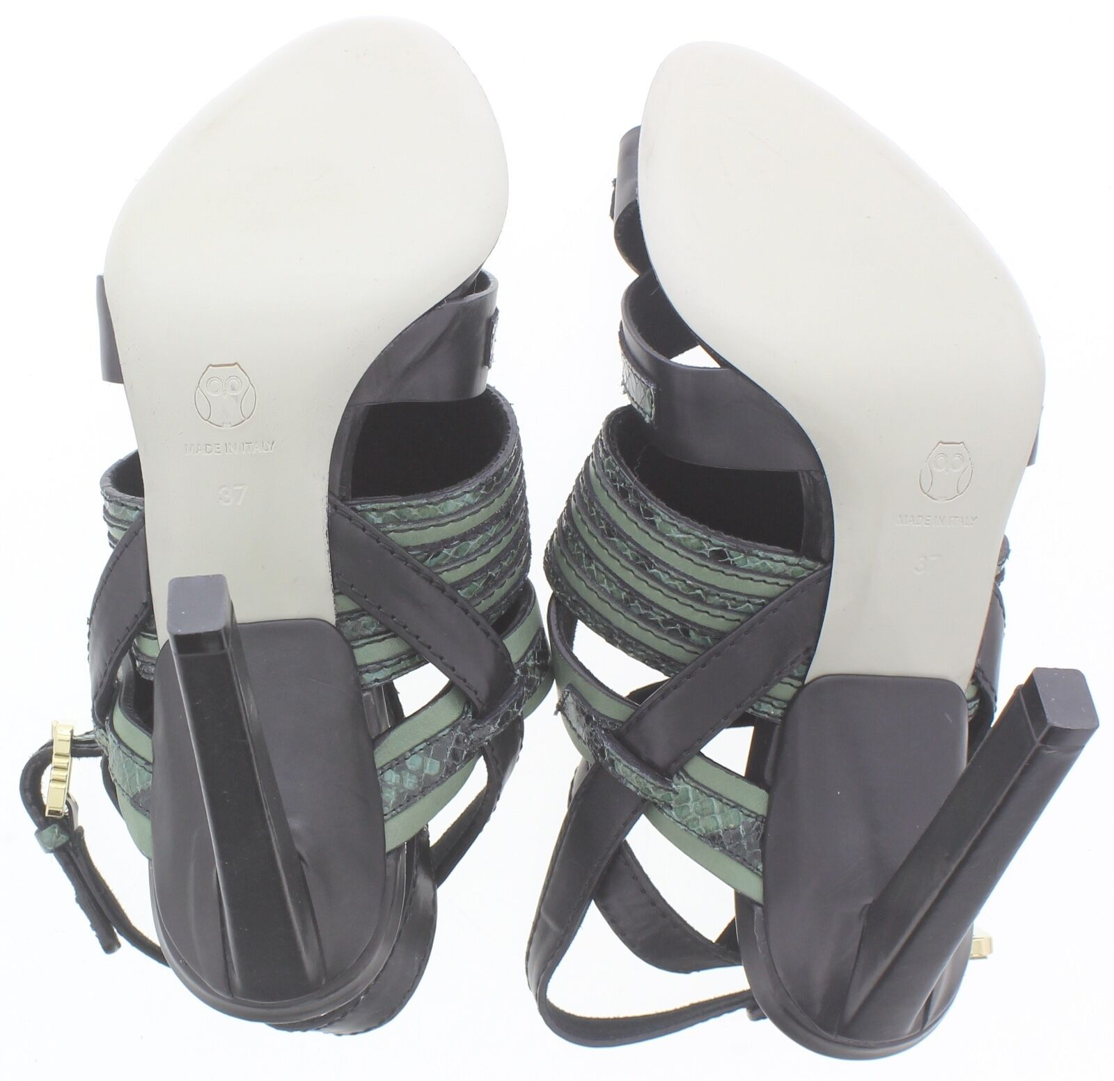 Women's JASON WU Black Black Black & Green Leather Strappy Slim Heels Size 37 3dd156