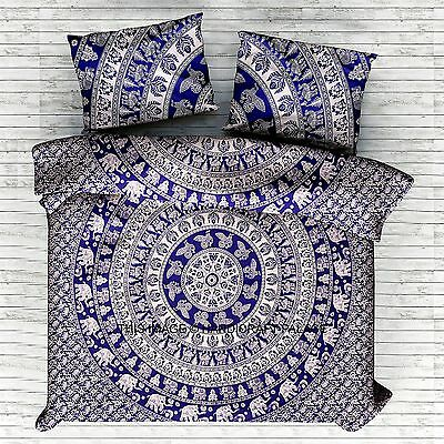Indian Elephant Bed Cover Blue White Queen Bed sheet Set Boho Mandala Tapestry