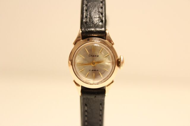 """VINTAGE RARE EARLY SMALL USSR RUSSIA SOLID PINK GOLD 14K  LADIES WATCH""""CHAIKA"""""""
