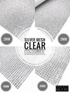 Iron-On-Diamante-Transfer-Strips-Hot-Fix-Rhinestone-Silver-Mesh-Crystal-Clear