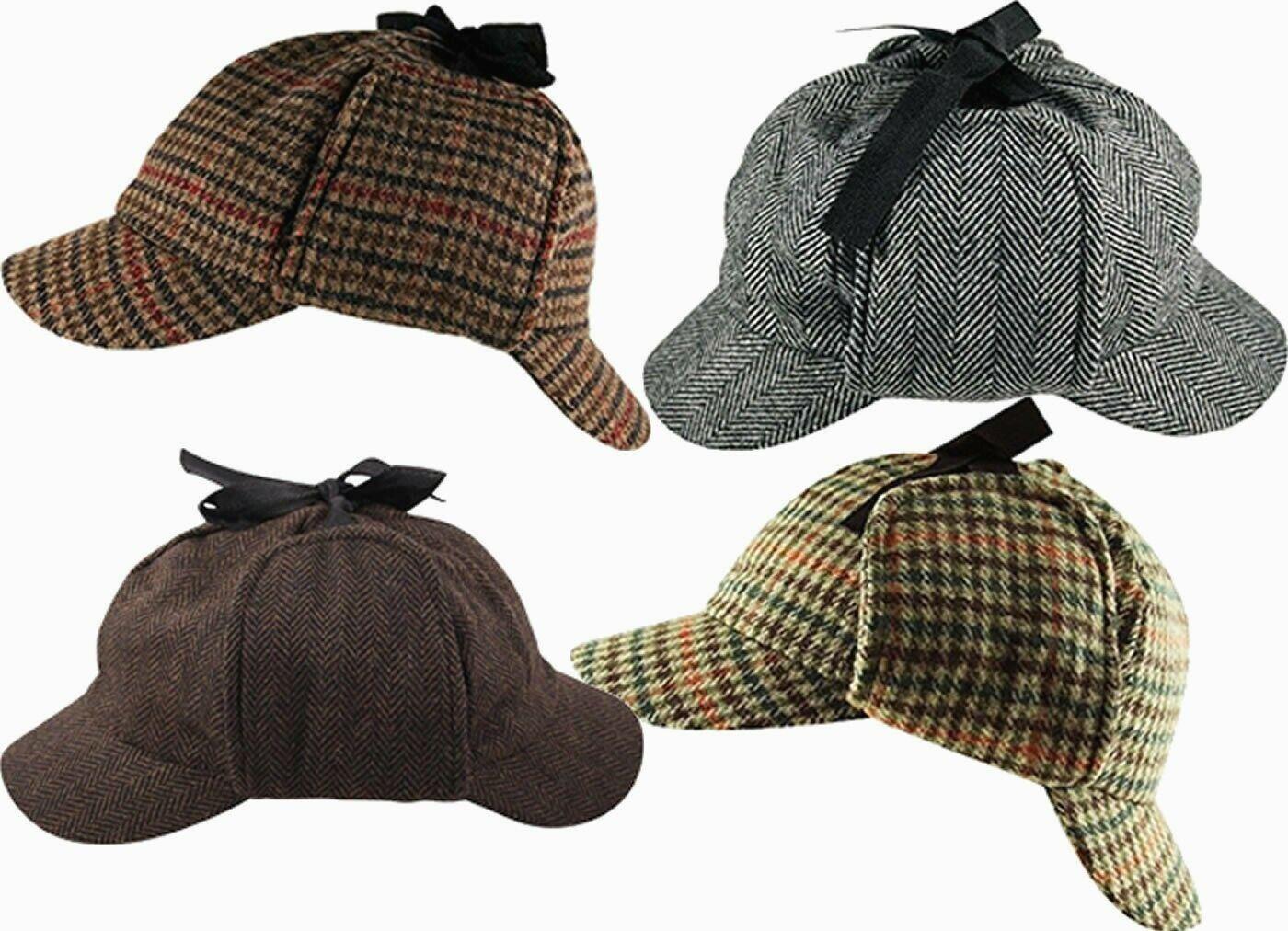 Sherlock Holmes Deerstalker Tweed Kariert & Fischgräten Wollmischung Hut Kappe