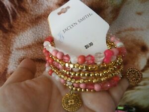 CLOSEOUT-SALE-Imported-From-USA-9-99-Jaclyn-Smith-Gold-Orange-Bracelet