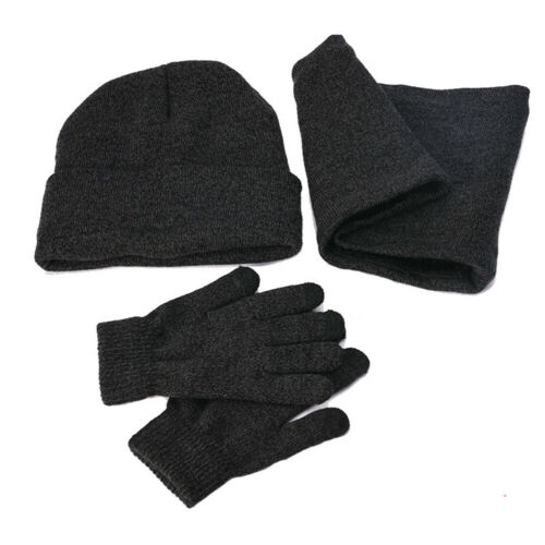 3 Piece Knit Set With Touch Screen Gloves Warmer Scarf Winter Beanie Hat For Men