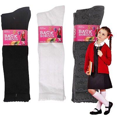 Soxy® 6 Pairs Girls Cotton Rich Heart Design Knee High School Socks Children/'s