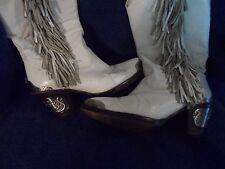 Vtg Zodiac Metal Accents Fringed  Women's White Leather  Cowboy Boots - Sz 6.5M
