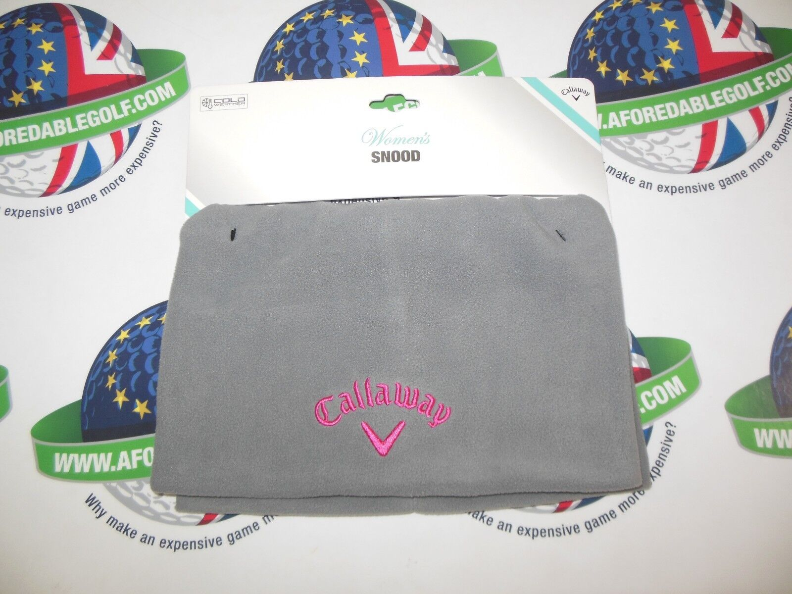 33917cadbf173 Callaway Golf Weather Series Grey pink Polar Fleece Stretch Snood