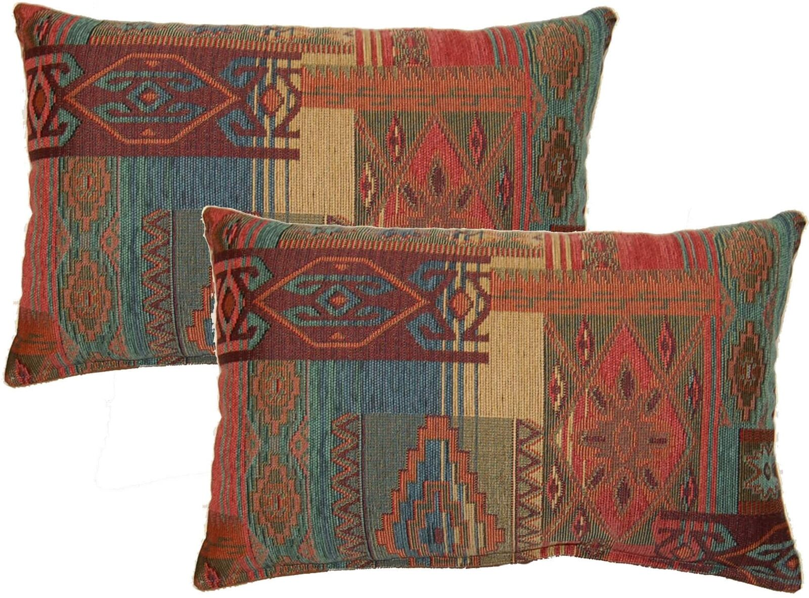 Set of 2 Rustic Southwest Decorative Accent Throw Pillows Earth Tone Rectangular