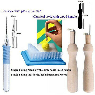 New Needle Felting Tool With 1 Needle Plastic / Wooden Handle DIY Craft Tool