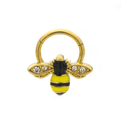 Ear Cartilage Septum Ring Hinged Bumble Bee Design 16ga Surgical