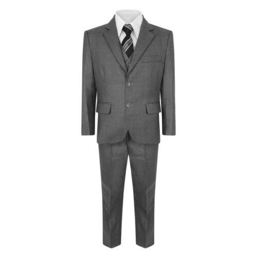 Boys 5 Piece Suit Wedding Party Page Boy Christening Formal Grey Suit 1Y-15Y