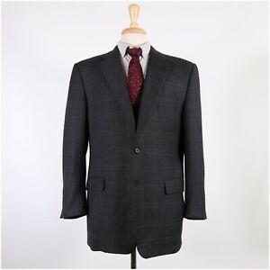 Hickey Freeman 44R Gray Check Wool Two Button Sport Coat Blazer Jacket