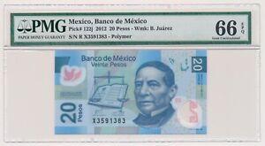 MEXICO-banknote-20-Pesos-2012-PMG-MS-66-EPQ-Gem-Uncirculated-grade