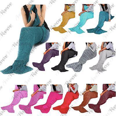 Verantwoordelijk New Womens Mermaid Fishtail Sofa Quilt Rug Cocoon Crocheted Knit Lapghan Blanket Nieuw (In) Ontwerp;